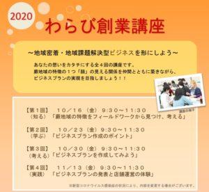 2020年わらび創業講座のお知らせ